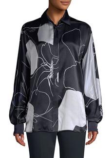 Max Mara Renna Silk Abstract Floral Blouse