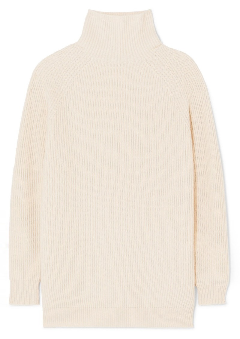 Ribbed And Waffle-knit Wool And Cashmere-blend Turtleneck Sweater