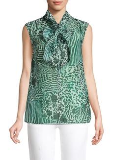 Max Mara Ribelle Sleeveless Animal Print Tie Neck Blouse