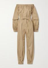 Max Mara Romana Off-the-shoulder Cotton-twill Jumpsuit