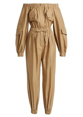 Max Mara Romana Off-The-Shoulder Utility Jumpsuit