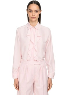 Max Mara Ruffled Light Silk Shantung Blouse