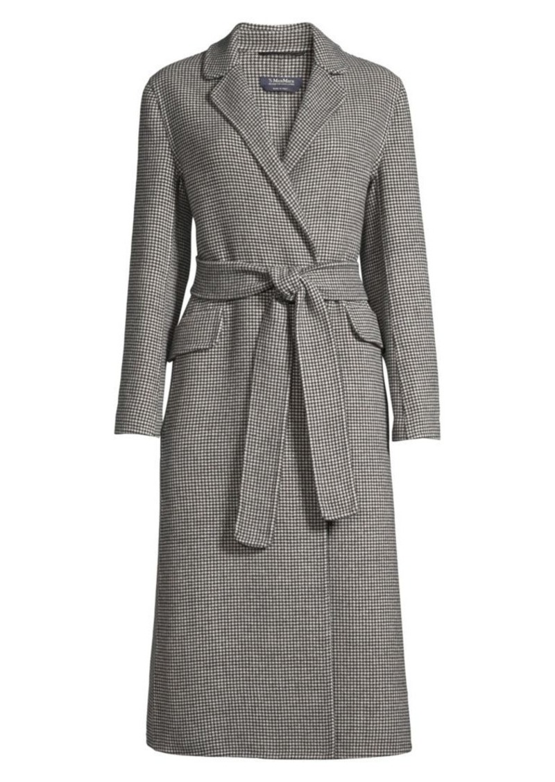 Max Mara Scout Long Belted Wool Houndstooth Coat
