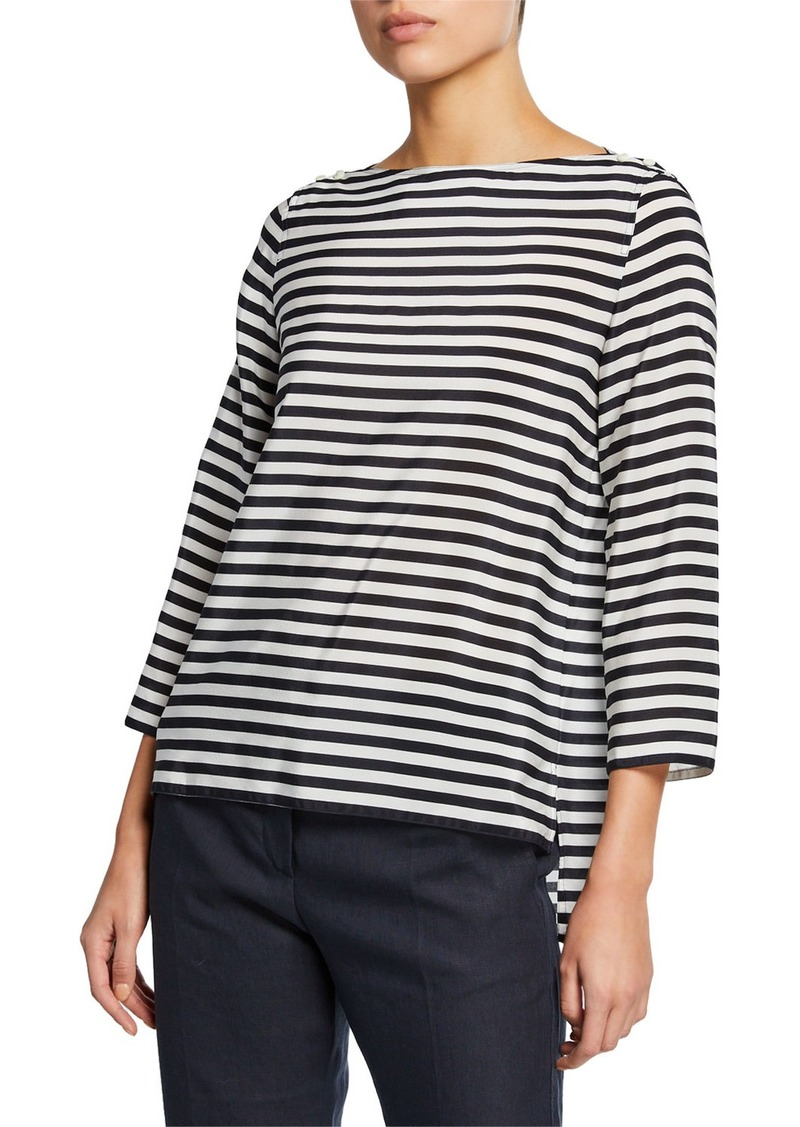Max Mara Semele 3/4-Sleeve Striped Jersey Top