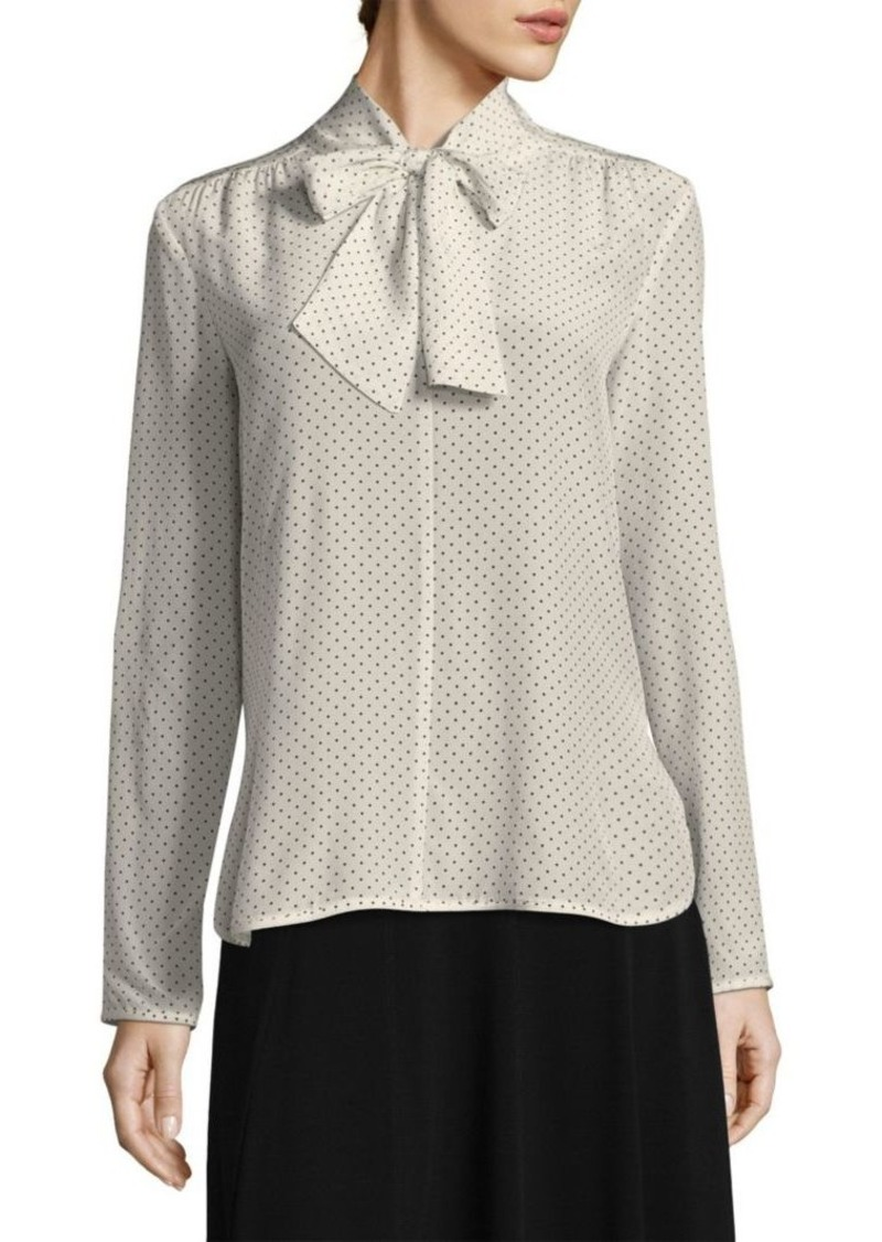 Max Mara Silk Polka Dot Tie-Neck Blouse
