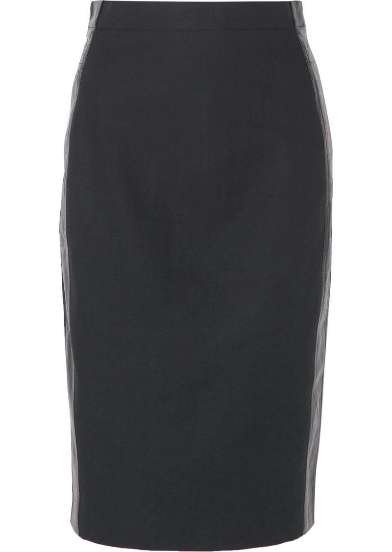 Max Mara Stripe-trimmed Cotton And Linen-blend Skirt