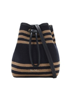 Max Mara Striped Fur Effect Wool Blend Bucket Bag