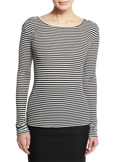Max Mara Striped Long-Sleeve Scoop-Back Top