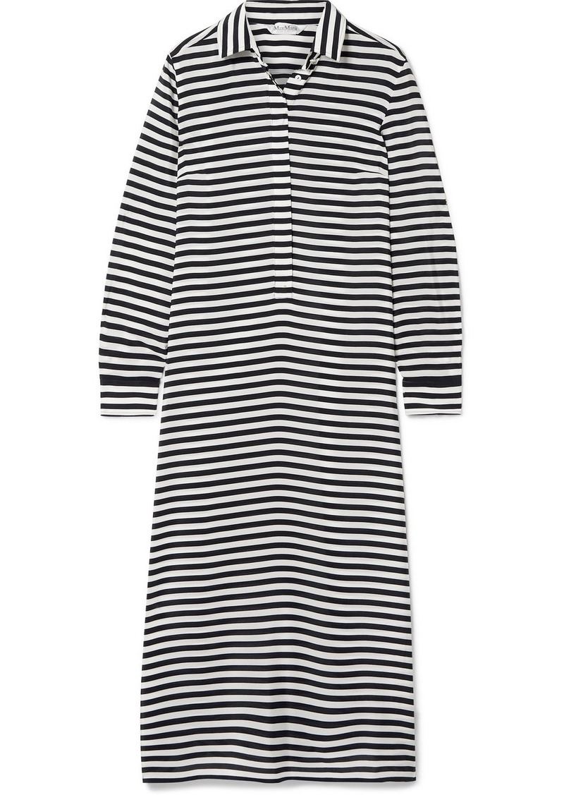 Max Mara Striped Silk-chiffon Midi Dress