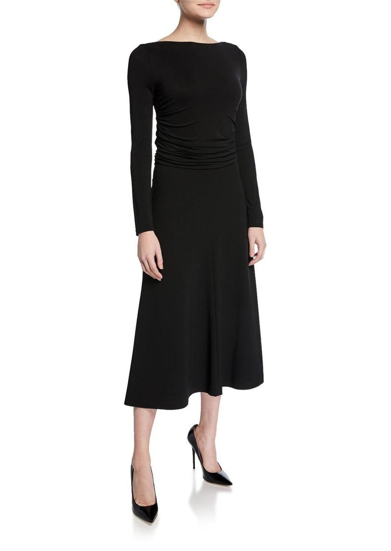 Max Mara Tirreno Long-Sleeve Jersey Midi Dress