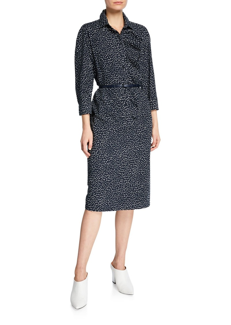 Max Mara Vicky Polka-Dotted Belted Shirtdress