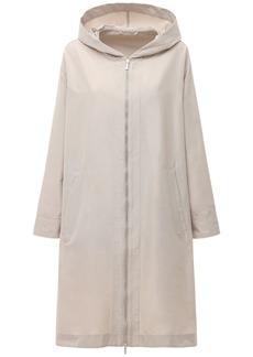 Max Mara Waterproof Cotton Blend Zip Coat W/ Hood