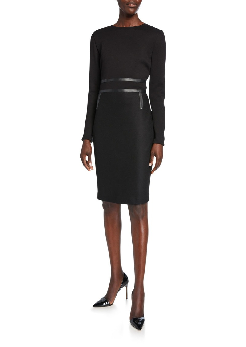 Max Mara Xeno Leather-Trim Jersey Long-Sleeve Dress