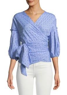 Max Studio 3/4 Bubble-Sleeve Wrap-Blouse