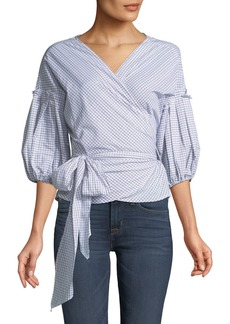 Max Studio 3/4-Bubble-Sleeve Wrap Top