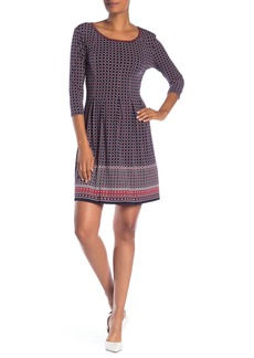 Max Studio 3/4 Sleeve Fit & Flare Dress