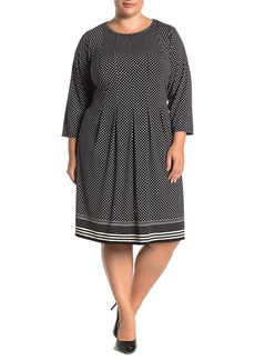 Max Studio 3/4 Sleeve Fit & Flare Dress (Plus Size)