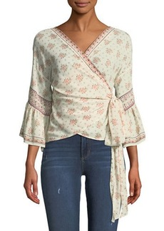 3/4-Sleeve Floral Wrap Top
