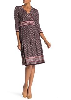 Max Studio Geo Print 3/4 Sleeve Midi Dress