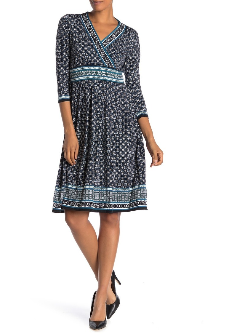 Max Studio Geo Print 3/4 Sleeve Midi Dress
