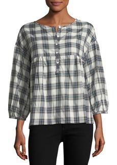 3/4-Sleeve Plaid Shirt