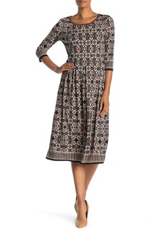 Max Studio 3/4 Sleeve Printed Midi Jersey Dress