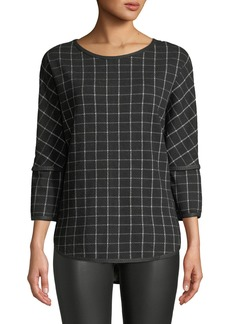 Max Studio 3/4-Sleeve Windowpane Jacquard Top