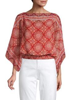 Max Studio Bandana-Print Kimono-Sleeve Top