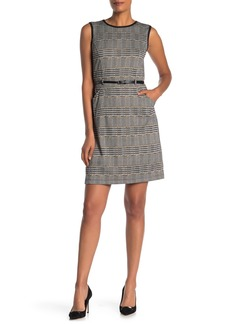 Max Studio Belted Plaid Faux Leather Trim Dress