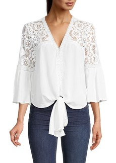 Max Studio Blocked to Lace Top