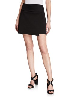 Max Studio Bonded Wrap Mini Jersey Skirt