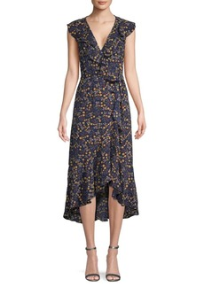 Max Studio Botanical-Print Wrap Dress