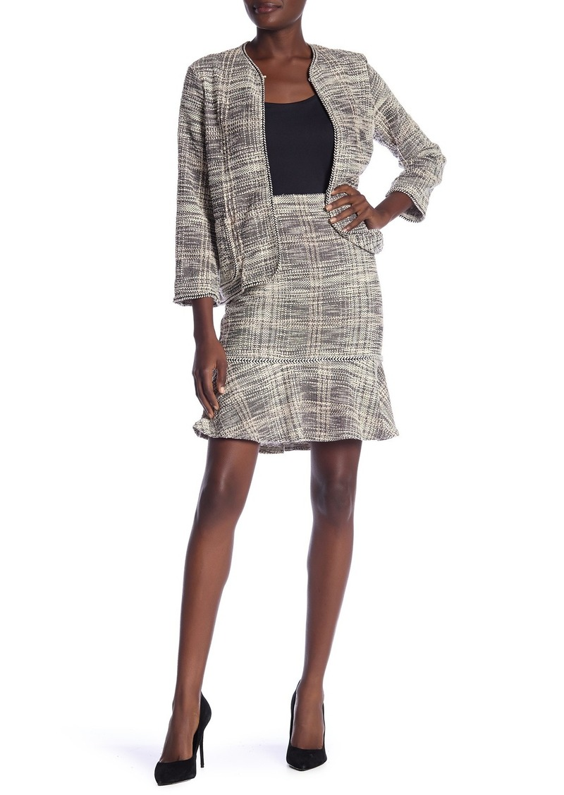 Max Studio Boucle Knit Flounce Hem Skirt