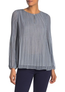 Max Studio Bubble Sleeve Keyhole Blouse