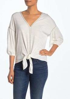 Max Studio Bubble Sleeve Tie Front Blouse