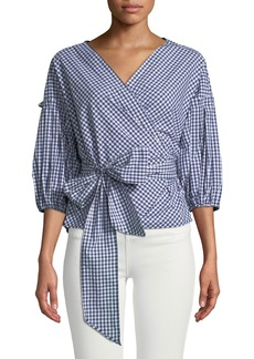 Max Studio Bubble-Sleeve Wrap Front Blouse
