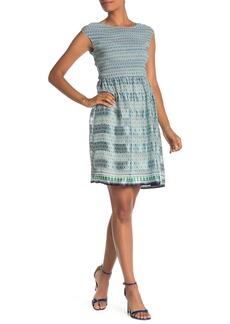 Max Studio Cap Sleeve Smocked Dress