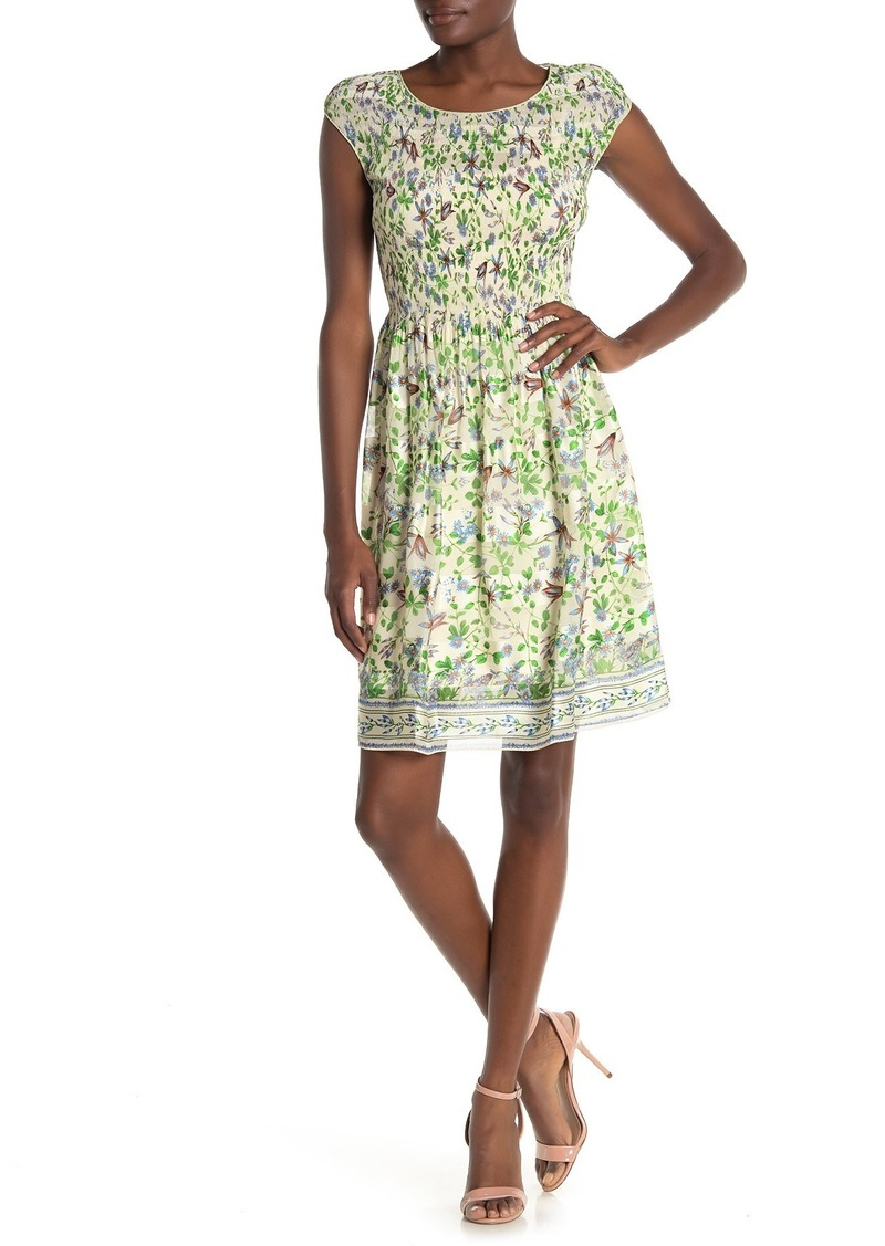 Max Studio Cap Sleeve Smocked Print Dress