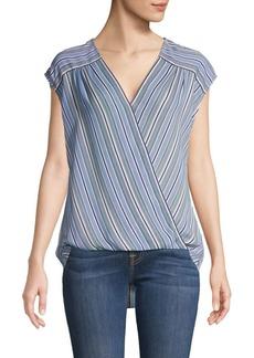 Max Studio Cap-Sleeve Striped Top