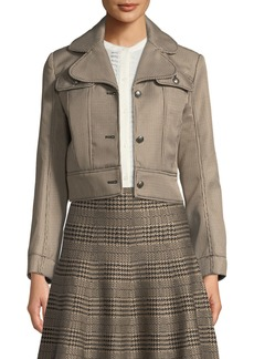 Max Studio Check Button-Front Cropped Jacket