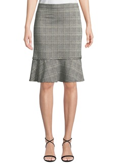 Max Studio Check Pattern Knit Flounce Skirt