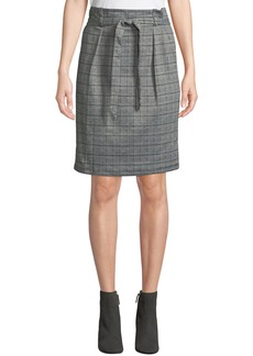 Max Studio Check Pattern Paperbag Skirt