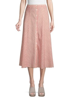 Max Studio Chevron-Print Cotton Blend Skirt