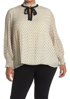 Max Studio Clip Dot Pleated Blouse