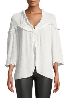 Max Studio Clip Dot Ruffle Trim Blouse