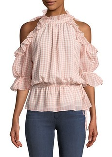 Max Studio Cold-Shoulder Ruffled Gingham Blouse