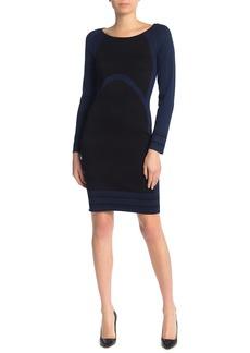 Max Studio Colorblock Bodycon Sweater Dress