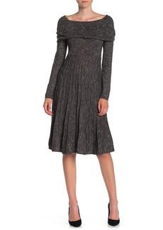 Max Studio Cowl Neck Marled Sweater Dress