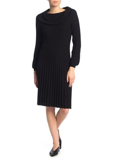 Max Studio Cowl Neck Puff Sleeve Sweater Dress