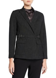 Max Studio Crosshatch Belted Wrap-Front Jacket